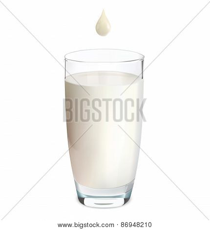 Glass Of Milk And Drop Isolated On White. Vector Illustration