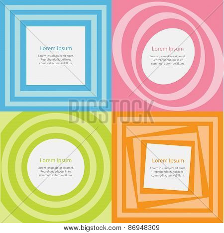 Abstract Background Set Optical Illusion Of The Movement Round Square Template Flat Sesign