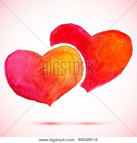 vector watercolor 2 red and orange hearts