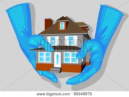 Blue Gloves And House