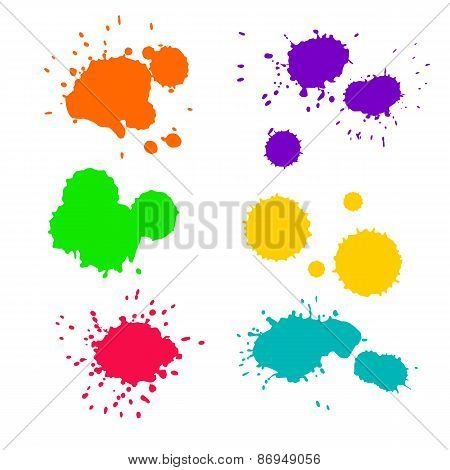 Vector set of 6 ink colorful splashes