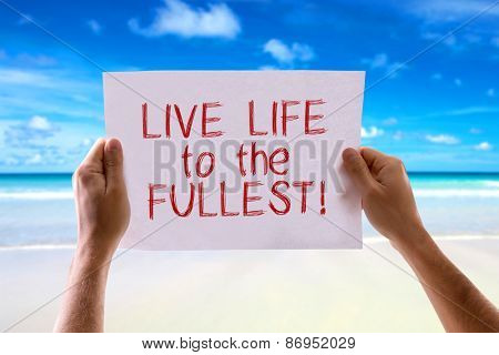 Live Life to the Fullest card with beach background