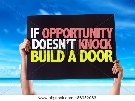 If Opportunity Doesn't Knock Build a Door card with beach background