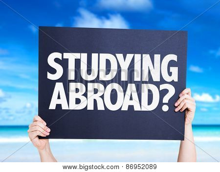 Studying Abroad? card with beach background