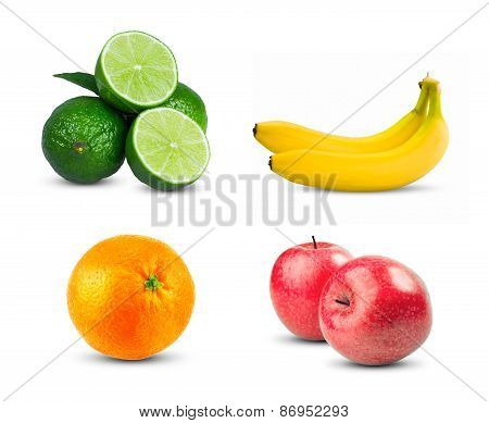 Red Apples fresh diet fruit with vitamins, Fresh orange fruit, Two yellow bananas and Fresh limes sl