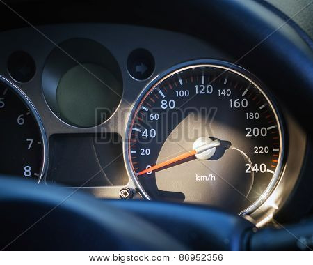 Car Speed Meter Close Up