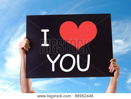 I Love You card with sky background