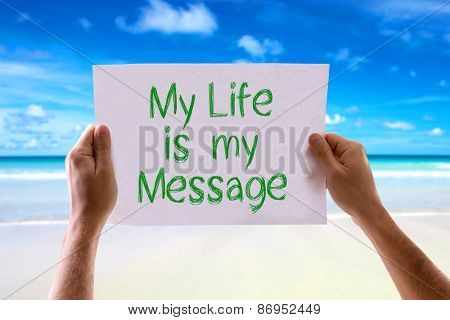 My Life is My Message card with beach background