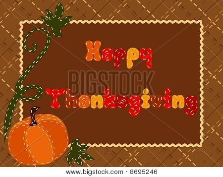 Quilted Thanksgiving postcard with a pumpkin