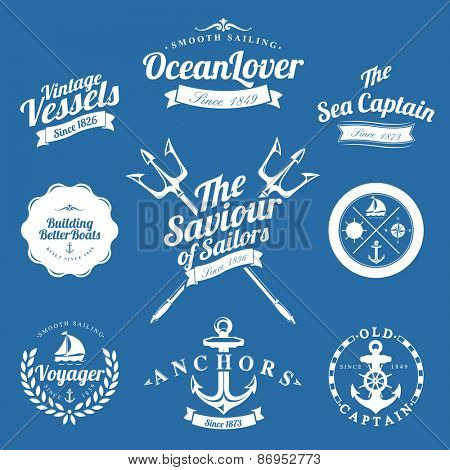 Set Of Vintage Retro Nautical Badges And Labels On Blue Background