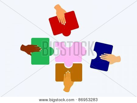 hands assembling jigsaw puzzle and represent team support and help concept. vector illustration