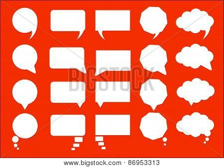 infographic design with white communication bubbles on the orange background. Eps 10 vector file.