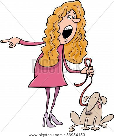 Woman With Dog Cartoon Illustration