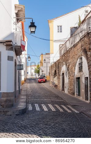 Narrow Street Of Evora In Portugal