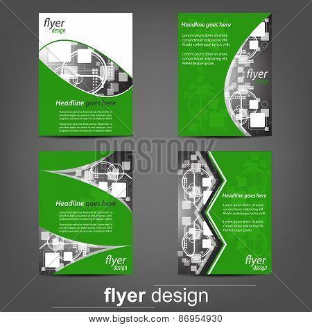 Set of business flyer templates - Green Technology