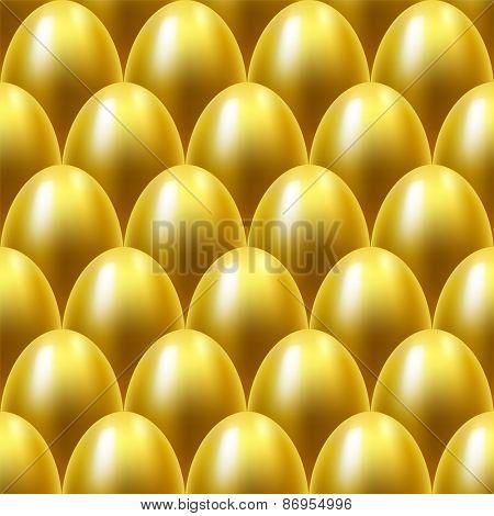 Seamless golden eggs background.