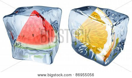 Ice Cubes With Slices Of Watermelon And Orange