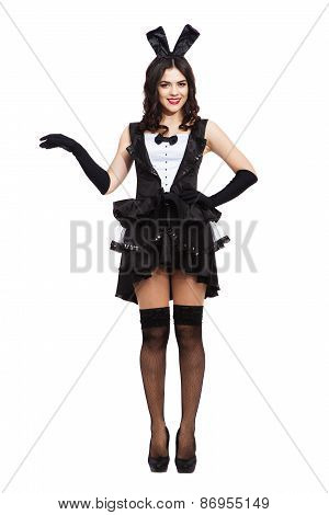 Sexy play girl wearing a bunny costume posing against isolated white background