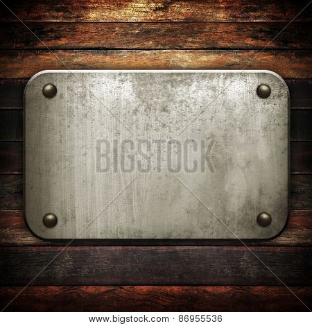 metal sign on old wood plank background