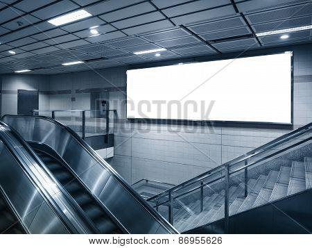 Mock Up Billboard in Subway Station With Stairs And Escalator In Perspective