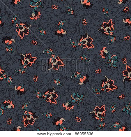 retro seamless floral pattern. colorful vector background