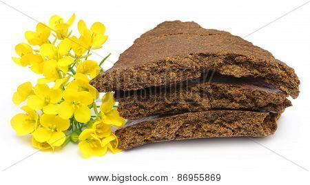 Mustard Flowers And Cake Over White Background