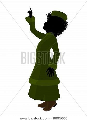 African American Victorian Girl Illustration Silhouette