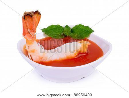 Shrimp With Chili Sauce Isolated On White Background