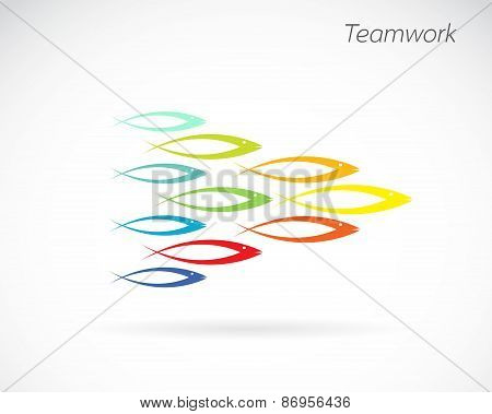 Vector Images Of The Design Of Fish. Teamwork Concept