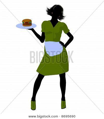 Waitress Illustration Silhouette