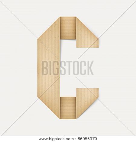 3D Elegant Folded Paper Letter C