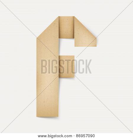 3D Elegant Folded Paper Letter F