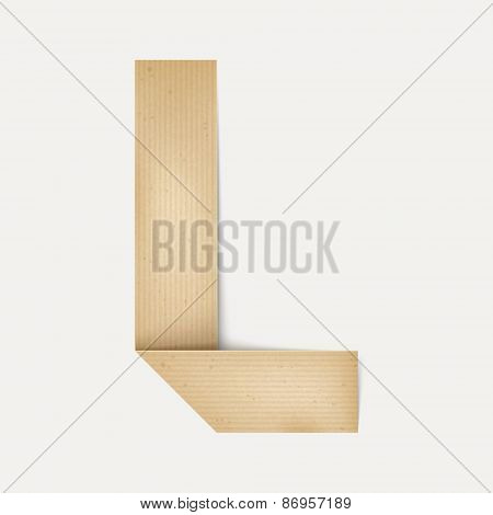 3D Elegant Folded Paper Letter L