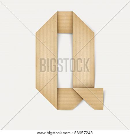 3D Elegant Folded Paper Letter Q