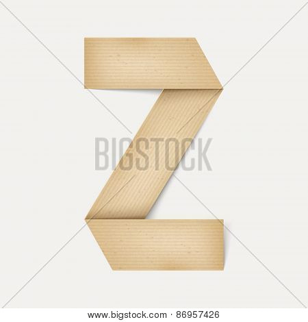 3D Elegant Folded Paper Letter Z