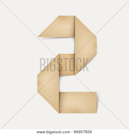 3D Elegant Folded Paper Number 2