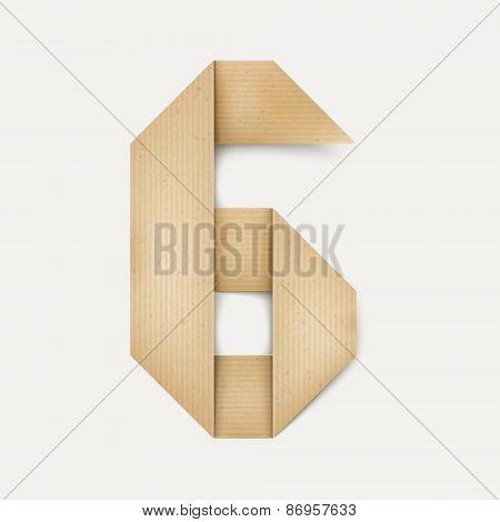 3D Elegant Folded Paper Number 6