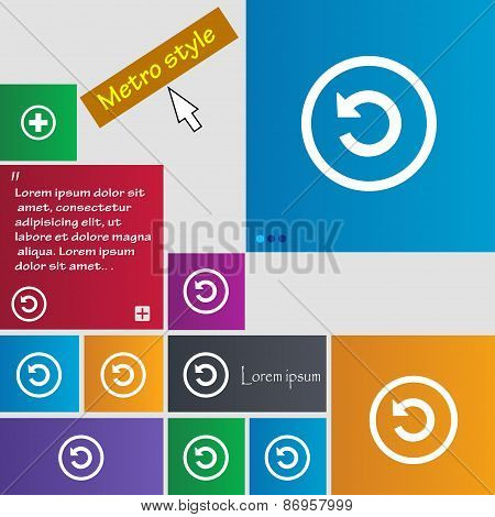 Upgrade, Arrow, Update Icon Sign. Metro Style Buttons. Modern Interface Website Buttons With Cursor