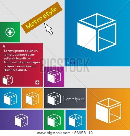 3D Cube Icon Sign. Metro Style Buttons. Modern Interface Website Buttons With Cursor Pointer. Vector