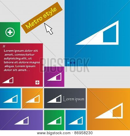 Speaker Volume Icon Sign. Metro Style Buttons. Modern Interface Website Buttons With Cursor Pointer.
