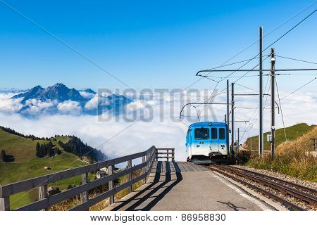Cogwheel Train On Top Of Rigi Mountain