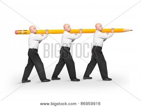 Group of clerks delivering one pencil. Team work concept, low productivity metaphor.