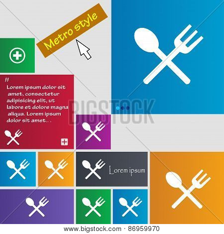 Fork And Spoon Crosswise, Cutlery, Eat Icon Sign. Metro Style Buttons. Modern Interface Website Butt