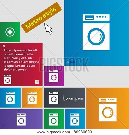 Washing Machine Icon Sign. Metro Style Buttons. Modern Interface Website Buttons With Cursor Pointer