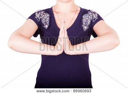 Girl Shows Gesture Namaste