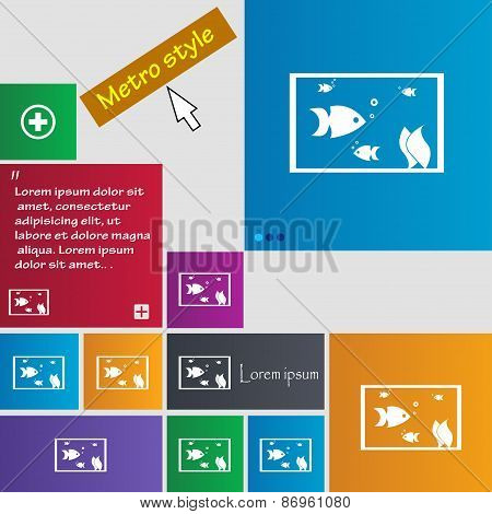 Aquarium, Fish In Water Icon Sign. Metro Style Buttons. Modern Interface Website Buttons With Cursor