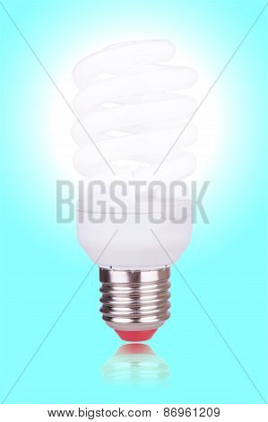 Economical Bulb On Blue Background