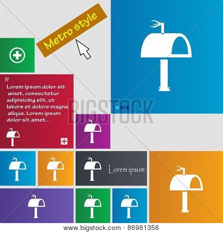Mailbox Icon Sign. Metro Style Buttons. Modern Interface Website Buttons With Cursor Pointer. Vector