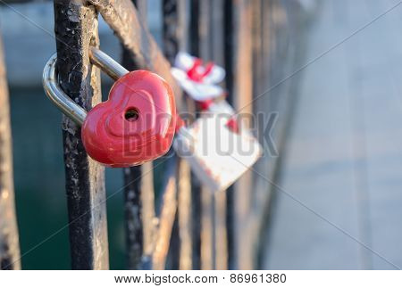 Highlighted Love Lock On The Bridge