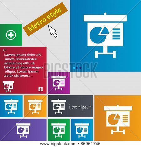 Graph Icon Sign. Metro Style Buttons. Modern Interface Website Buttons With Cursor Pointer. Vector